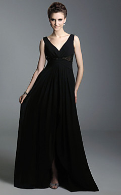 A-line V-neck Floor-length Chiffon Evening Dress inspired by Sex and the City