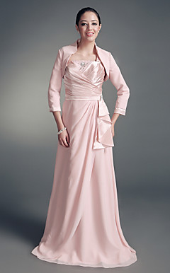 Sheath/Column Square Floor-length Stretch Satin And Chiffon Mother of the Bride Dress With A Wrap