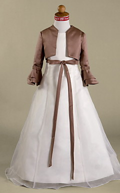 Long Sleeves Taffeta Flower Girl Jacket / Special Occasion Wrap