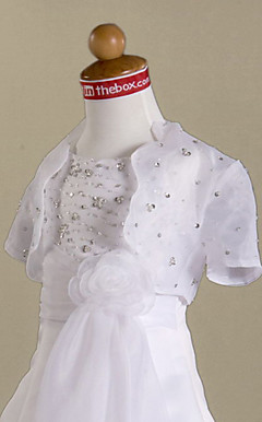 Short Sleeves Organza Flower Girl Jacket/ Wedding Wrap