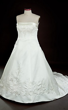 A-line Strapless Court Train Satin Embroidery Plus Size Wedding Dress
