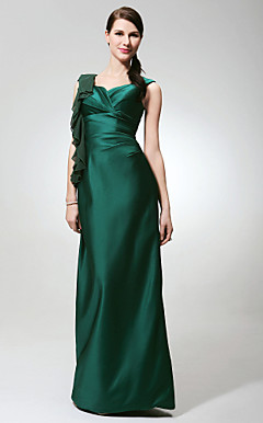 Sheath/ Column V-neck Floor-length Satin Chiffon Bridesmaid Dress