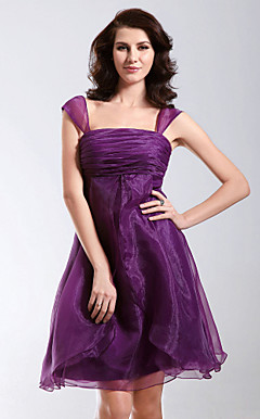 A-line Knee-length Square Neckline Organza Cocktail/Homecoming Dress