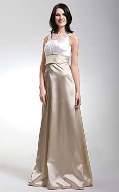 Sheath/ Column Scoop Floor-length Satin Bridesmaid/ Wedding Party Dress