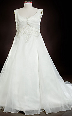 A-line/Princess Square Court Train Organza Plus Size Wedding Dress