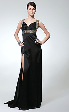 Sheath/ Column V-neck Sweep/ Brush Train Charmeuse Evening Dress