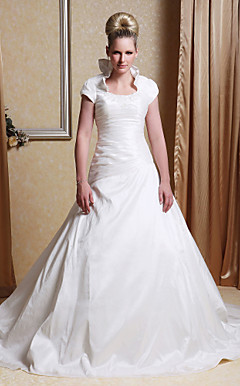A-line Scoop Chapel Train Taffeta Wedding Dress