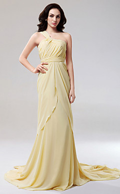Chiffon Sheath/ Column One Shoulder Court Train Evening Dress inspired by Cat Deeley at Emmy Award