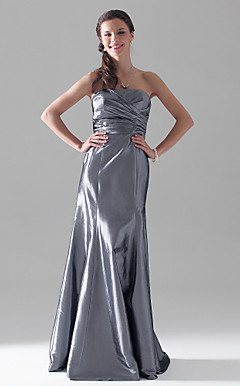 Sheath/Column Strapless Floor-length Taffeta Bridesmaid Dress
