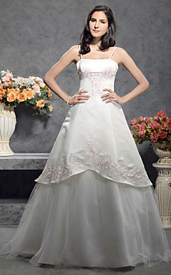 A-line/Princess Spaghetti Straps Sleeveless Floor-length Satin Wedding Dress