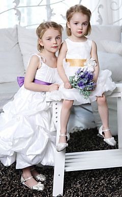 A-line Spaghetti Straps Ankle-length Taffeta Flower Girl Dress