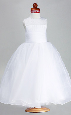 Ball Gown Jewel Ankle-length Organza Satin Flower Girl Dress