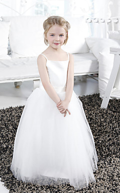 Ball Gown Spaghetti Straps Floor-length Tulle Satin Flower Girl Dress