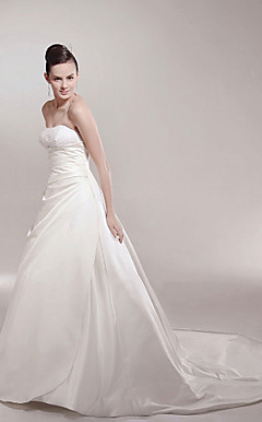 A-line Strapless Chapel Train Sleeveless Satin Luxury Wedding Dress