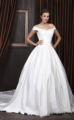 Ball Gown Off-the-shoulder Chapel Train Satin Wedding Dress