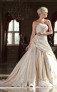 A-line Strapless Cathedral Train Taffeta Wedding Dress with Flowers