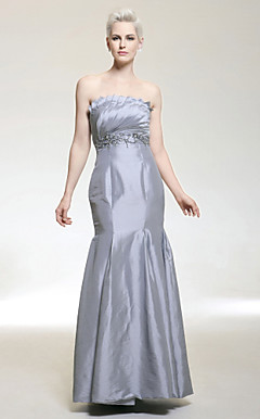 Trumpet/ Mermaid Strapless Floor-length Taffeta Evening Dress