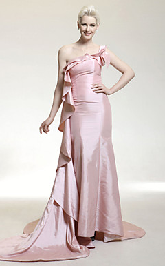 Taffeta Mermaid One Shoulder Court Train Evening Dress inspired by Lea Michele at Golden Globe Award