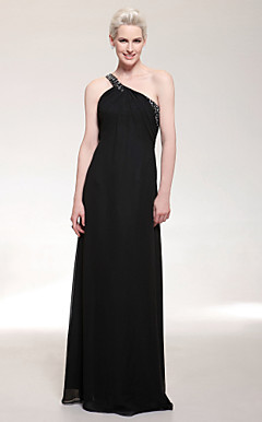 Chiffon Sheath/Column One Shoulder Floor-length Evening Dress inspired by Kristen Bell at Golden Globe Award