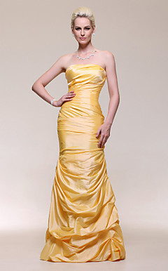 Trumpet/Mermaid Strapless Dropped Floor-length Taffeta Evening Dress