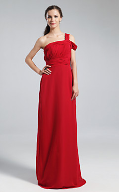 Sheath/Column One Shoulder Off-the-shoulder Floor-length Chiffon Bridesmaid Dress