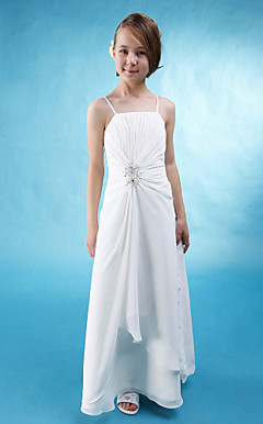 A-line Spaghetti Straps Floor-length Beaded Chiffon Junior Bridesmaid Dress