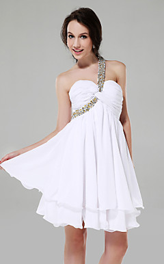A-line One Shoulder Sweetheart Short/Mini Chiffon Cocktail Dress