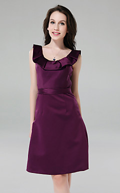 A-line Scoop Knee-length Satin Bridesmaid Dress