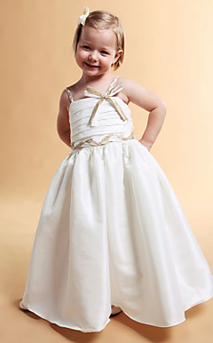 A-line Square Floor-length Taffeta Flower Girl Dress