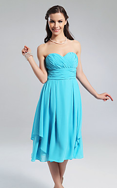 A-line Sweetheart Knee-length Chiffon Bridesmaid Dress With Criss-Cross Bodice