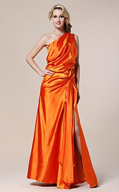 Stretch Satin Sheath/Column One Shoulder Floor-length Evening Dress inspired by Karolina Kurkuva
