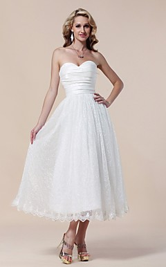 Lace Taffeta A-line Sweetheart Tea-length Evening Dress inspired by Rumer Willis