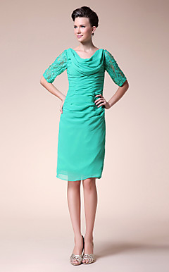Sheath/ Column Cowl Knee-length Chiffon Mother of the Bride Dress