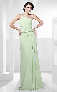 Sheath/Column Sleeveless One Shoulder Floor-length Chiffon Evening Dress