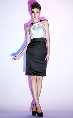 Sheath/ Column Jewel Knee-length Stretch Satin Cocktail Dress