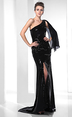 Trumpet/Mermaid One Shoulder Sweep/Brush Train Sequined Evening Dress