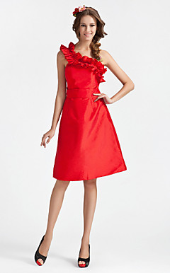 A-line Princess One Shoulder Knee-length Taffeta Bridesmaid Dress