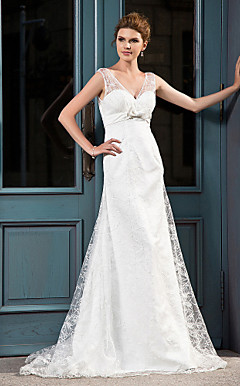 A-line V-neck Court Train Lace Satin Wedding Dress