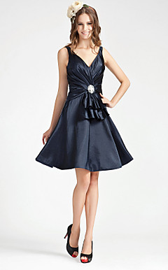 A-line V-neck Knee-length Stretch Satin Bridesmaid Dress