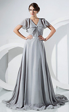 A-line V-neck Sweep/Brush Train Chiffon Evening Dress