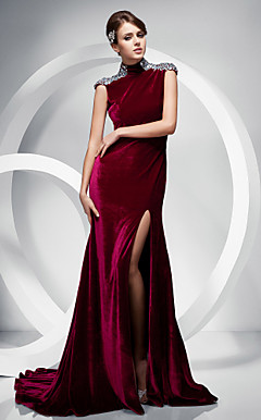 Trumpet/Mermaid High Neck Sweep/Brush Train Velvet Evening Dress