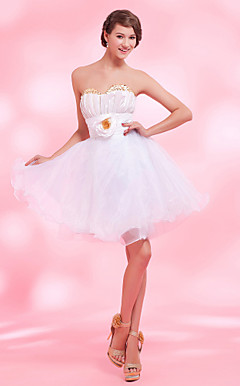A-line Sweetheart Knee-length Organza Taffeta Cocktail Dress