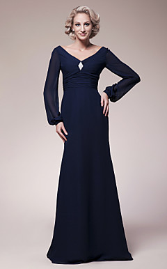 Trumpet/Mermaid V-neck Floor-length Chiffon Mother of the Bride Dress