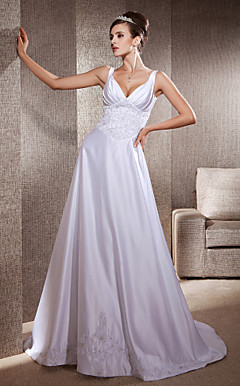 A-line Appliques Deep V-neck Chapel Train Satin Wedding Dress