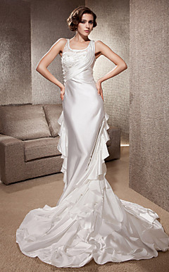 Sheath/Column Scoop Cathedral Train Elastic Woven Satin Wedding Dress
