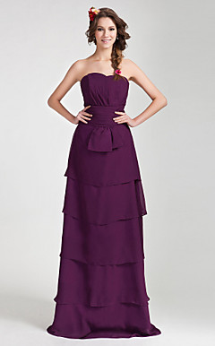 Sheath/ Column Sweetheart Floor-length Chiffon Bridesmaid Dress