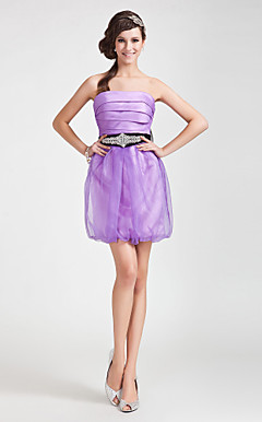 Sheath/ Column Strapless Short/ Mini Organza Satin Cocktail Dress
