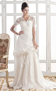 A-line V-neck Court Train Taffeta Wedding Dress