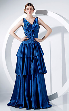 A-line V-neck Floor-length Stretch Satin Evening Dress
