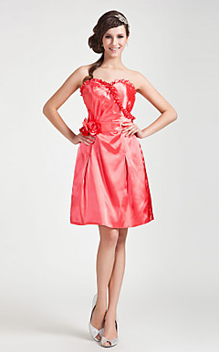 A-line Sweetheart Knee-length Stretch Satin Bridesmaid Dress